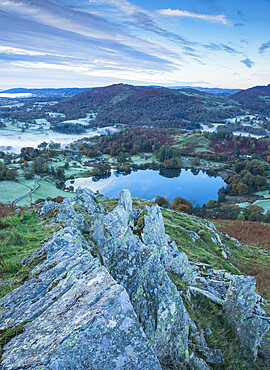 View of Loughrigg Tarn and early morning mists in autumn from Loughrigg Fell, English Lake District, Cumbria