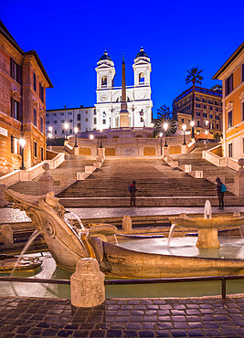 Fountain Fontana della Barcaccia at Piazza di Spagna at Spanish Steps with church of Santissima Trinita dei Monti, Rome, Lazio, Italy, Europe