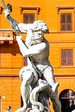 The Fountain of Neptune (Fontana del Nettuno), a fountain located at the north end of the Piazza Navona, Rome, Lazio, Italy, Europe