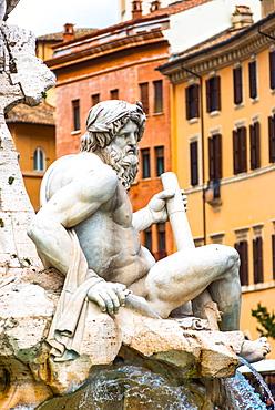 Fontana dei Quattro Fiumi (Fountain of the Four Rivers), a fountain in the Piazza Navona, Rome, Lazio, Italy, Europe
