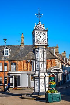 Ornate old clock by James Scott in town square, Downham Market, Norfolk, England, United Kingdom, Europe