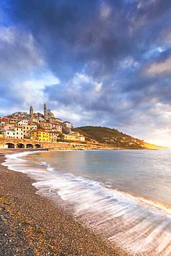 Sunrise on the beach of Cervo, Imperia province, Liguria, Italy, Europe