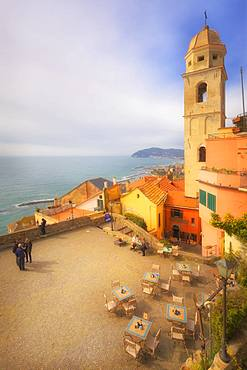 Main square with the bell tower of Cervo, Imperia Province, Liguria, Italy, Europe