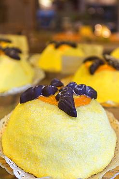 Typical dessert called Polenta e Osei, Old city of Bergamo, Bergamo province, Lombardy, Italy, Europe