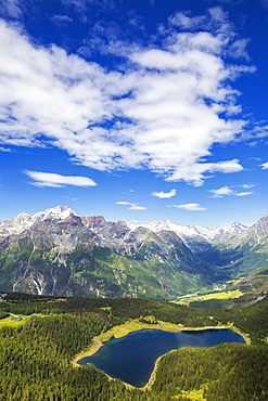 Lake Palu and Mount Disgrazia seen from above, Mount Roggione, Valmalenco, Valtellina, Lombardy, Italy, Europe