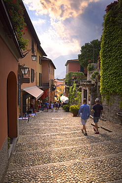 Tourists walk stairs in Bellagio, Province of Como, Lake Como, Italian Lakes, Lombardy, Italy, Europe