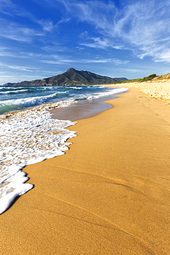 Waves on the sand beach of San Nicolao, Buggerru, Sud Sardegna province, Sardinia, Italy, Mediterranean, Europe