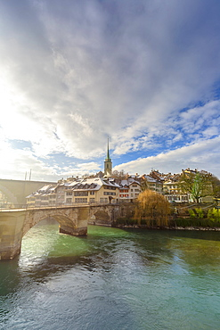 Sun light illuminates the historical centre of Bern, Canton of Bern, Switzerland, Europe