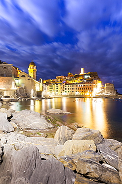 Village of Vernazza at night, Cinque Terre, UNESCO World Heritage Site, Liguria, Italy, Europe