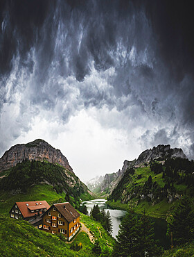 Thunderstorm is coming at Bollenwees refuge, Canton of Appenzell, Alpstein, Switzerland, Europe