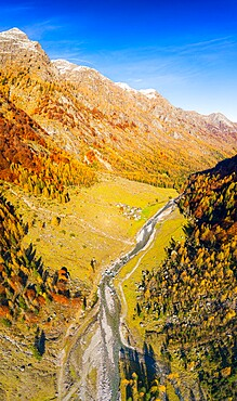 Panoramic aerial view of Val Bodengo during autumn, Valchiavenna, Valtellina, Lombardy, Italy, Europe