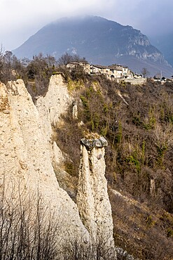 Earth pyramids (rock chimneys) with old houses of Zone, Brescia province, Lombardy, Italy, Europe
