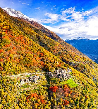 Aerial view of traditional village, Valtellina, Lombardy, Italy, Europe