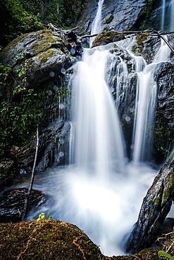 Long exposure of Wachiratharn Waterfall, Doi Inthanon National Park, Chiang Mai, Thailand, Southeast Asia, Asia