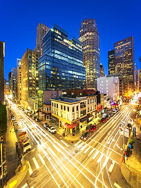 Busy Pine and Kearny Street at night, San Francisco Financial District, California, United States of America, North America