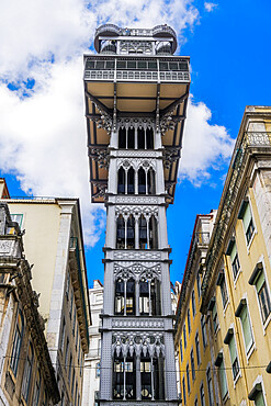 Lisbon, Portugal low angle day view of iconic Santa Justa Lift, Elevador de Santa Justa, 1902 cast-iron elevator.