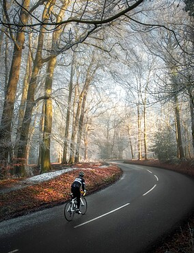 A lone cyclist climbs Tom's Hill in Hertfordshire, England, United Kingdom, Europe