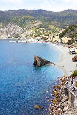 View of the beach at Monterosso, Cinque Terre, UNESCO World Heritage Site, Liguria, Italy, Europe