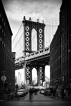 Manhattan Bridge with the Empire State Building through the Arches, New York City, New York, United States of America, North America