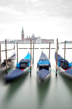 Gondolas with the Church of San Giorgio Maggiore in the background, Venice, UNESCO World Heritage Site, Veneto, Italy, Europe