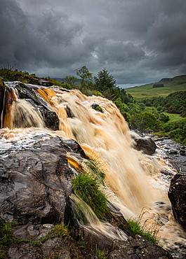 The Loup of Fintry waterfall on the River Endrick, located approximately two miles from Fintry village, near Stirling, Scotland, United Kingdom, Europe - 1287-111