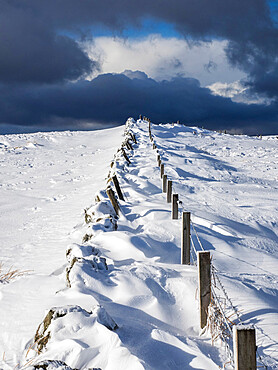 Snow drifts on the hills above Glasgow on a stormy day, Scotland, United Kingdom, Europe