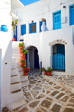 Lemkes village, typical Cycladic architecture and colors, Paros, Cyclades Islands, Greek Islands, Greece, Europe
