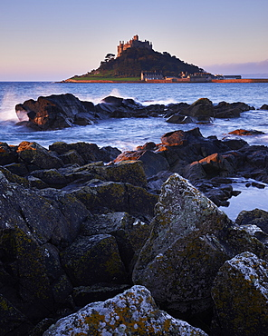 Winter dawn looking at St. Michael's Mount in Marazion, Cornwall, England, United Kingdom, Europe