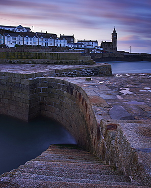 Early morning on the harbour side at Porthleven in Cornwall, England, United Kingdom, Europe