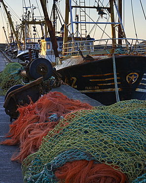 Trawlers alongside and nets, Newlyn, Cornwall, England, United Kingdom, Europe