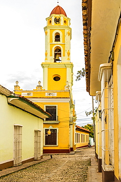 A view from Plaza Major towards the bell tower of the Convent of San Francisco, Trinidad, UNESCO World Heritage Site, Cuba, West Indies, Caribbean, Central America