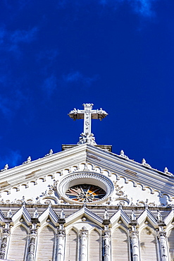 A view of the cross on the Cathedral of Santa Ana, Santa Ana, El Salvador, Central America