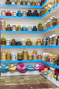 A hat store selling Panama hats in the historic old quarter (Casco Viejo), Panama City, Panama, Central America