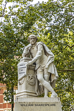 The William Shakespeare statue in Leicester Square, London, England, United Kingdom, Europe