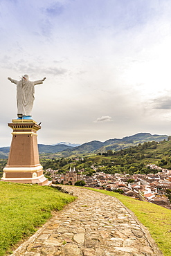 The view from Christ Statue hill, Morro El Salvador, in Jerico, Antioquia, Colombia, South America