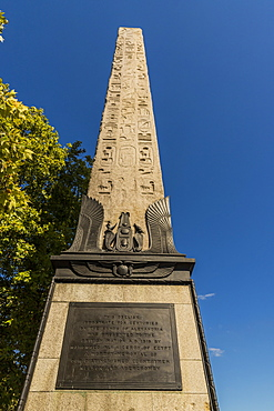 Cleopatra's Needle and the plaque to Erasmus Wilson at its base, London, England, United Kingdom, Europe