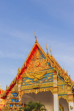 The colourful roof on Mongkol Nimit temple (Wat) in Phuket old town, Phuket, Thailand, Southeast Asia, Asia