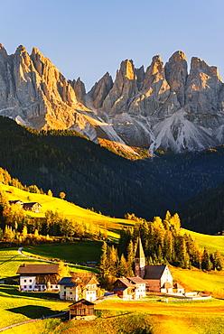 Funes valley in autumn season, Santa Magdalena, Bolzano Province, Trentino-Alto Adige, Italy, Europe