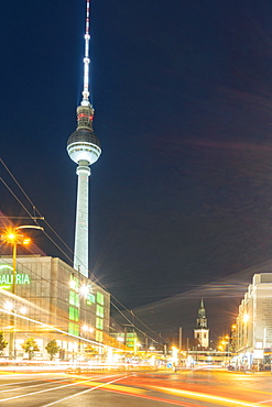TV Tower at Alexander Platz (Alexander Square) in Berlin Mitte by night, Berlin, Germany, Europe
