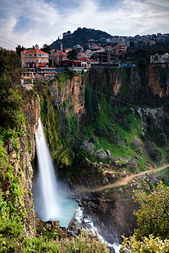 Jezzine Waterfall, during blue hour in Lebanon, Middle East