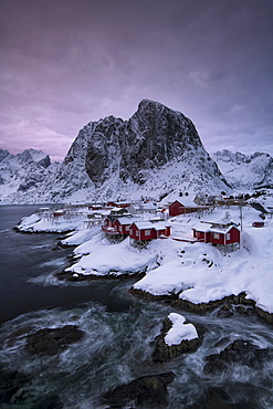 The Village of Hamnoy in a winter, Reine, Lilandstindan, Moskenesoya, Lofoten, Nordland, Arctic, Norway, Europe