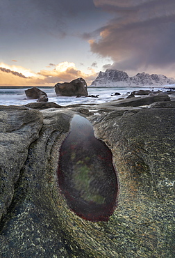Uttakleiv Beach covered with snow, Vestvagoy, Lofoten Islands, Nordland, Arctic, Norway, Europe