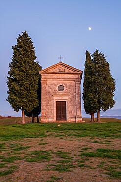 Vitaleta Church (Madonna di Vitaleta) with moon, San Quirico d'Orcia, Val d'Orcia, UNESCO World Heritage Site, Tuscany, Italy, Europe
