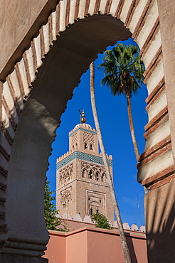 Koutoubia Mosque framed in archway, UNESCO World Heritage Site, Marrakech (Marrakesh), Morocco, North Africa, Africa