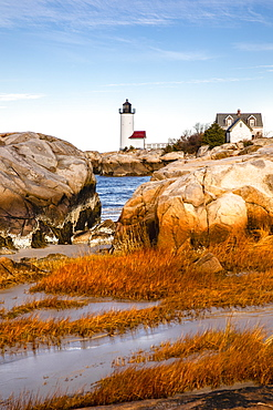 Annisquam Harbor Light illuminated in morning light, Massachusetts, New England, United States of America, North America