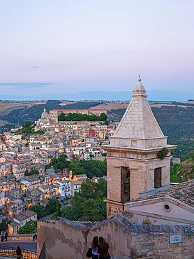 View over Ragusa Ibla, dusk, bell-tower of the Church of Santa Maria delle Scale in foreground, Ragusa, UNESCO World Heritage Site, Sicily, Italy, Europe