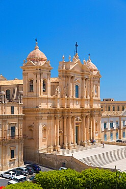 View to the Cathedral of San Nicolo from roof of the Church of San Carlo al Corso, Noto, UNESCO World Heritage Site, Syracuse (Siracusa), Sicily, Italy, Europe