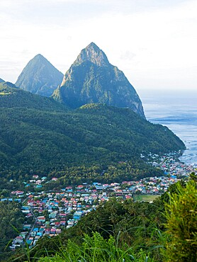 View to the Pitons, UNESCO World Heritage Site, from hillside above the town and the Caribbean Sea beyond, Soufriere, St. Lucia, Windward Islands, Lesser Antilles, West Indies, Caribbean, Central America