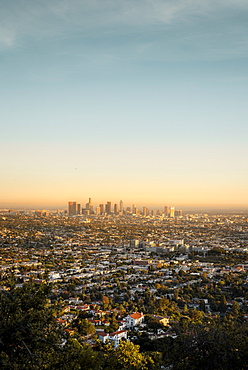 The Los Angeles City skyline taken from the Griffith Observatory, Los Angeles, California, United States of America, North America