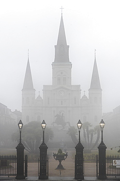 Jackson Square in the French Quarter, obscured by dense morning fog, New Orleans, Louisiana, United States of America, North America